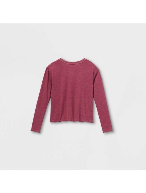 Girls' Boxy Henley Long Sleeve T-Shirt - art class™