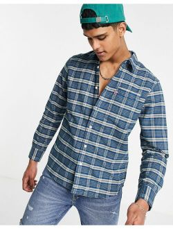 sunset 1 pocket standard fit nathan check shirt in navy peony