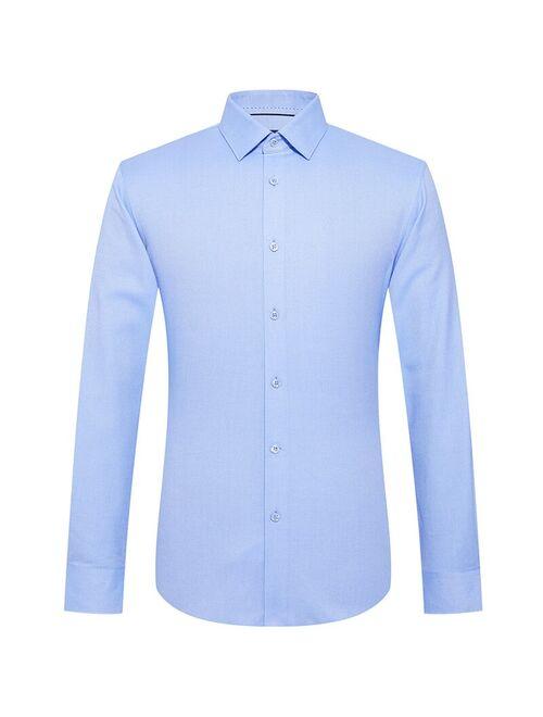 Newsbird fall 2019 new business men's long sleeve shirt square neck stripe slim top youth shirt