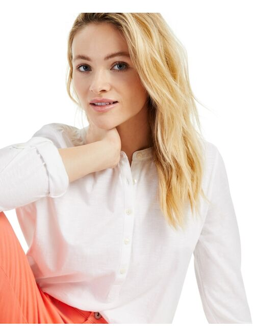 Style & Co Petite Cotton Roll-Sleeve Top, Created for Macy's