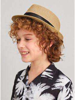Toddler Kids Belt Decor Straw Hat