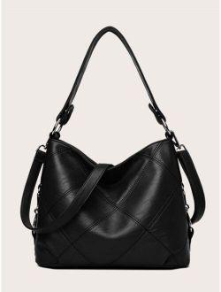 Stitch Detail Large Capacity Hobo Bag