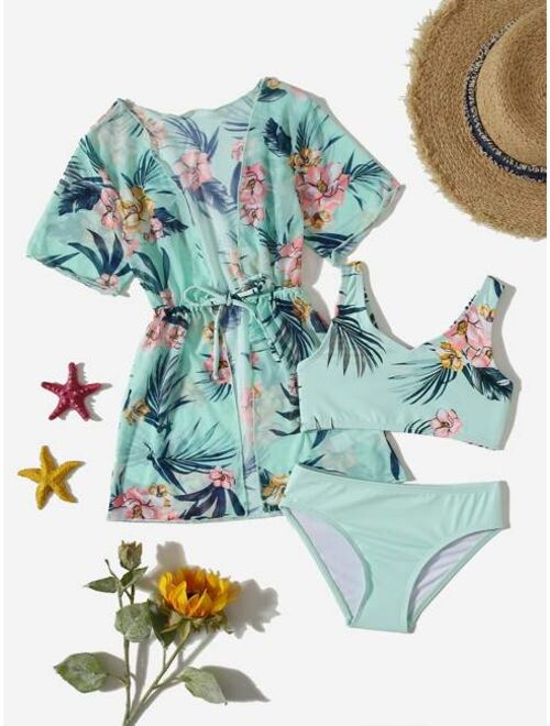 Shein 3pack Toddler Girls Floral & Tropical Print Bikini Swimsuit & Cover Up