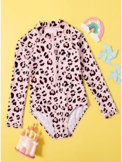 Toddler Girls Leopard Zip Front One Piece Swimsuit