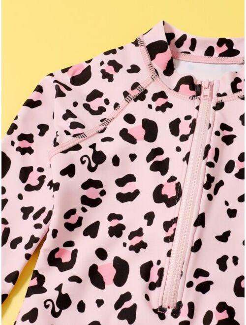 Shein Toddler Girls Leopard Zip Front One Piece Swimsuit