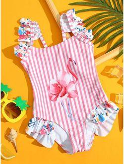 Toddler Girls Flamingo & Striped Ruffle One Piece Swimsuit