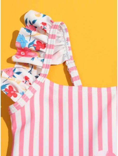 Shein Toddler Girls Flamingo & Striped Ruffle One Piece Swimsuit