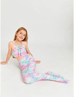 3pack Toddler Girls Fish Scale Bikini Swimsuit & Mermaid Tail Skirt