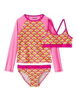 Lands' End Rash Guard, Bikini Top & Bottoms Swimsuit Set In Slim