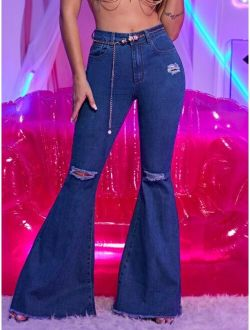 Ripped Raw Hem Flare Leg Jeans With Chain