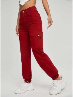 Zipper Fly Flap Pocket Cargo Jeans