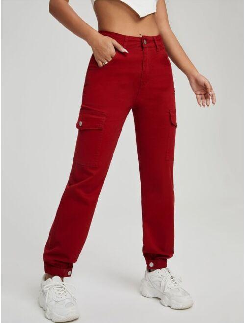 Shein Zipper Fly Flap Pocket Cargo Jeans