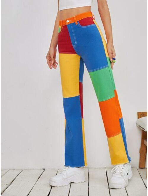 Color Block Raw Hem Straight Jeans