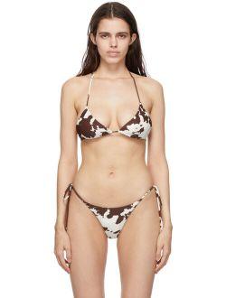 Miaou Off-White & Brown Cow Kauia Bikini Top