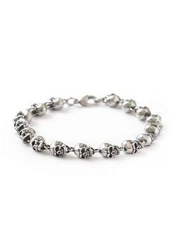 HAQUIL Stainless Steel Skull Charm Linked Bracelet for Men, Skull Jewelry Gift