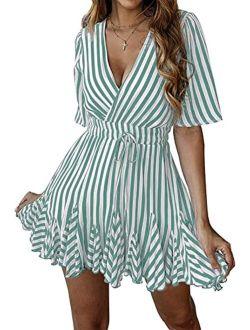 Women's Summer Deep V Neck Short Sleeve Striped Wrap Ruffle Hem Mini Dress