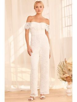 Seal My Fate White Lace Off-the-Shoulder Jumpsuit