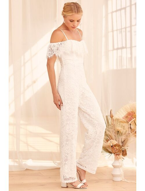 Forever Seal My Fate White Lace Off-the-Shoulder Jumpsuit