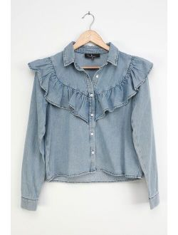 Belle of the Moment Blue Chambray Ruffled Button-Up Top