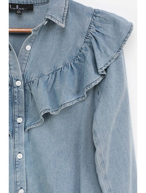 Lulus Belle of the Moment Blue Chambray Ruffled Button-Up Top