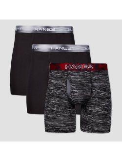 Men's 3pk Xtemp Long Leg Boxer Briefs - Black