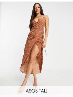 ASOS DESIGN Tall polka dot cami wrap maxi dress in brown