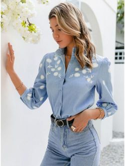 Simplee Frill Mock Neck Lantern Sleeve Floral Blouse