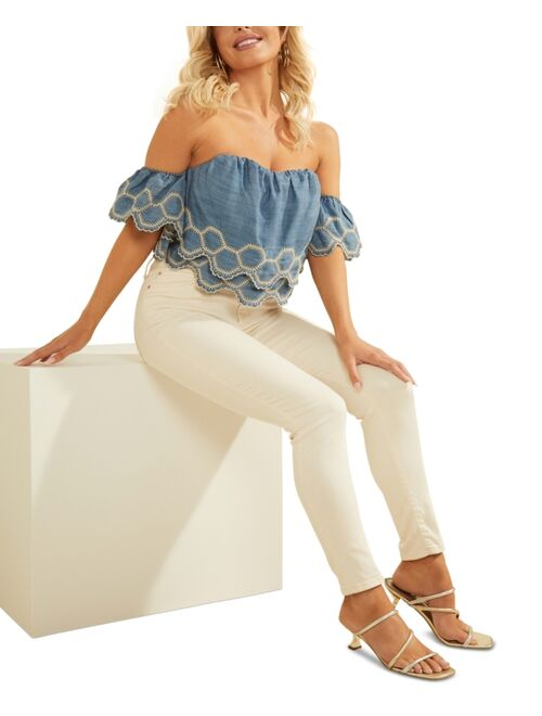 Guess Polyester Off Shoulder With Embroiderd Tired Design Top