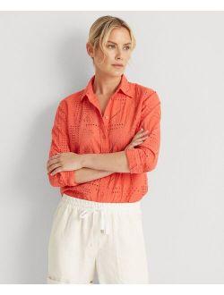 Patch-Eyelet Cotton Shirt