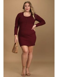 Go Beyond Basic Burgundy Ribbed Snap Front Bodycon Mini Dress