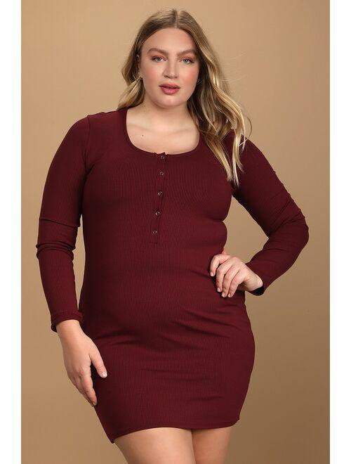 Lulus Go Beyond Basic Burgundy Ribbed Snap Front Bodycon Mini Dress