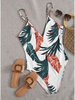 Jungle Leaf Print Cami Bodysuit