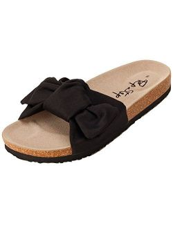 PepStep Slide Knotted Toe Strap Sandals for Women/Cork Sole/Canvas Knot Bow/Womens Slides/Sandals for Women