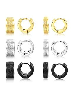Edomon 316L Stainless Steel Unique Small Hoop Earrings for Men Women Huggie Earrings Fashion Punk Jewelry Gift for Boys Girls Teens 6 Pairs