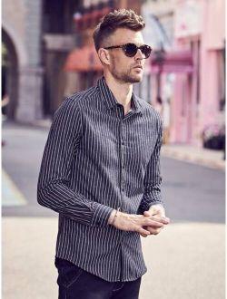 Men Striped Print Long Sleeve Casual Shirt