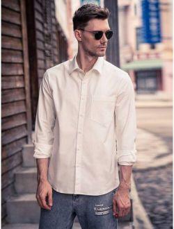Men Pocket Front Solid Long Sleeve Shirt