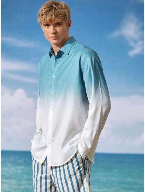 SHEIN Men Drop Shoulder Ombre Shirt