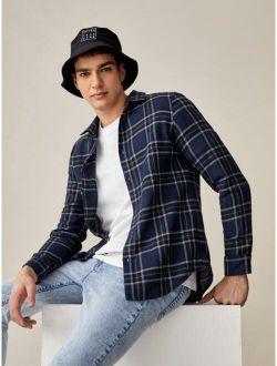 Basics Men Tartan Button Front Shirt