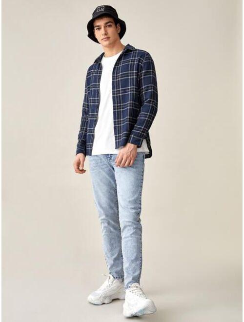 SHEIN BASICS Men Tartan Button Front Shirt