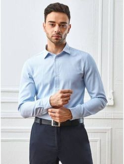 Men Single Breasted Solid Dress Shirt