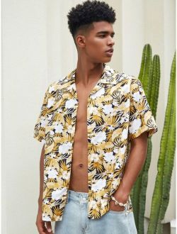 Men Allover Tropical Print Hawaiian Shirt