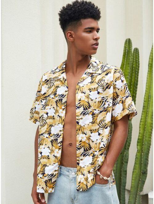 Shein Men Allover Tropical Print Hawaiian Shirt