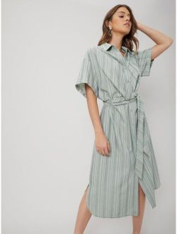 MOTF PREMIUM LINEN STRAIGHT SHIRT DRESS