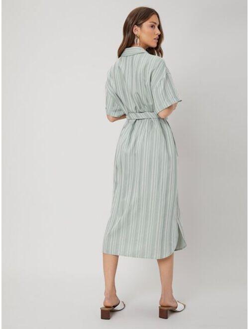 Shein MOTF PREMIUM LINEN STRAIGHT SHIRT DRESS