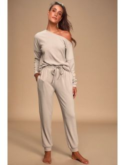 Dressed to Chill Taupe Ribbed Drawstring Joggers