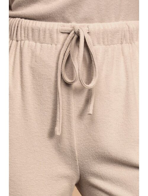 Lulus Dressed to Chill Taupe Ribbed Drawstring Joggers