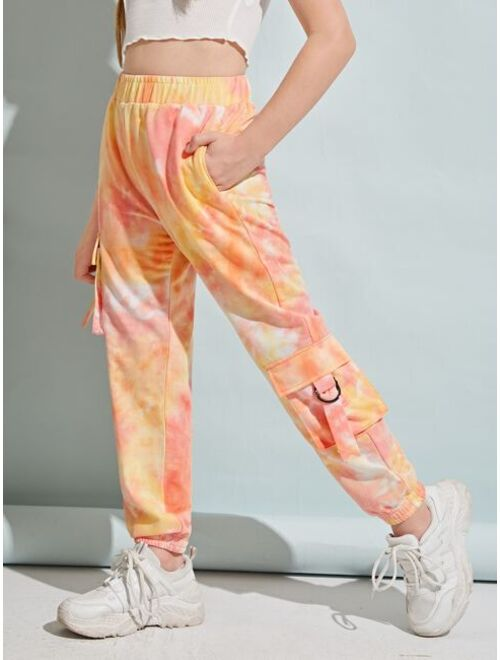 SHEIN Girls Flap Pocket Tie Dye Joggers