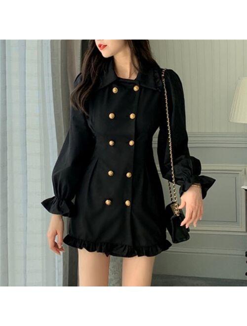 2021  New Arrival Long Sleeve Shirt Korean Short Skater Collar Sexy Black Dress Women Dresses Female Vintage Tunic Party Clothes