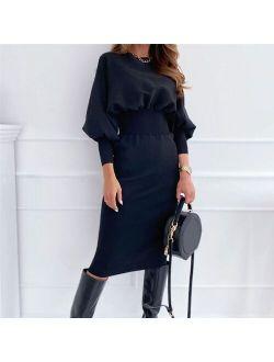 Fashion O-neck Long Sleeve Pencil Dress Women 2021 Autumn Winter Black Pink  Elegant Office Woman Dresses Robe Femme