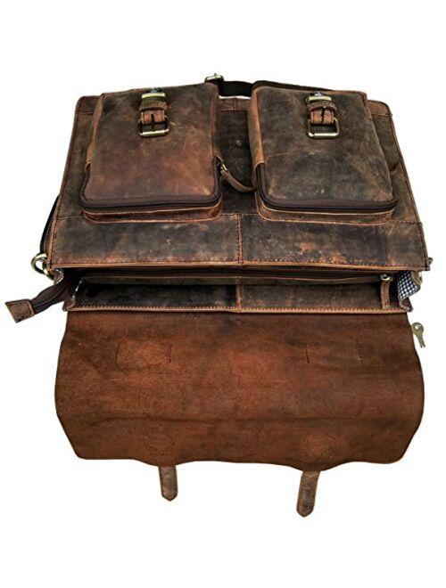 cuero Retro Buffalo Hunter Leather Laptop Messenger Bag Office Briefcase College Bag (15 inch)